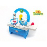 Little Treasures Doctor 17 Plus Piece Pretend And Play Set With A Selection Of Equipment And Play Medicine All Housed In A Doctors Bench And Storage Cabinet Great Toy For A Little Dr
