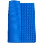 Premium 15 X 15 Double Sided Silicone Baseplate Mat With Drawstring Backpack - Blue Roll Up Base Plate - (Compatible W