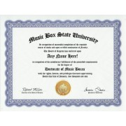 Music Box Degree: Custom Gag Diploma Music Boxes Doctorate Certificate (Funny Customized Joke Gift Novelty Item)