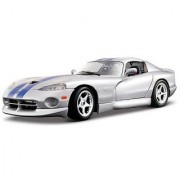 Bburago 2011 Gold 1:18 Scale Silver Dodge Viper GTS Coupe