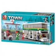Sluban Double Decker With Tank Station Bus Coach Transport Kids Building Bricks