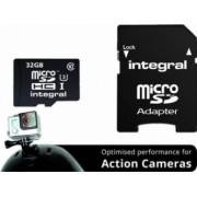 Card Memorie Integral Action Camera MicroSDHC 32GB Clasa 10 + Adaptor SD inmsdh32g10-action