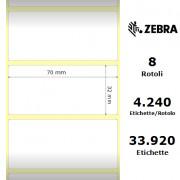 Zebra Z-Select 2000T - Etichette in carta patinata di colore bianco, formato 70 x 32 mm.
