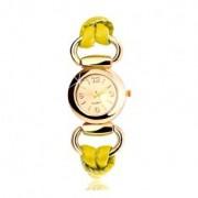 Karóra, szíj sárga színű latexből, kerek számlap arany színben
