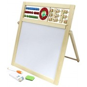 Shopperz Double Sided Magnetic Wooden Writing Board with Abacus & English Alphabets- H-162