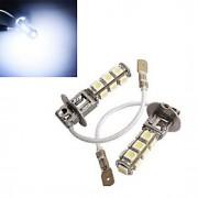 2 pcs h3 4W 13x SMD 5050 150-200lm 6500-7500k branco fresco luz decorativa DC 12V