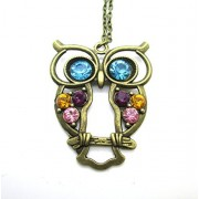 Libaraba(TM) Retro Colorful Crystal Studded Hollow Owl Long Sweater Necklace