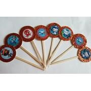 8 Octonauts Glitter Orange Only Cupcake Picks Birthday Orange Octonaut Favors