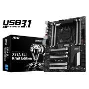 Placa de baza MSI X99A SLI, X99, QuadDDR4-2133, SATA3, SATAe, M.2, ATX