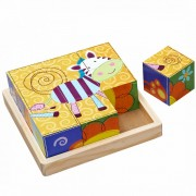 Drvene slagalice puzzle kocke, 9 kom