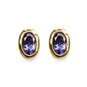Carissima Gold 9ct Yellow Gold Oval Iolite Stud Earrings