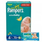 Scutece Pampers 4 Active Baby 7-14kg (70)buc+Servetele Baby Fresh 64buc