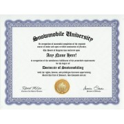 Snowmobiling Snowmobile Degree: Custom Gag Diploma Doctorate Certificate (Funny Customized Joke Gift - Novelty Item)