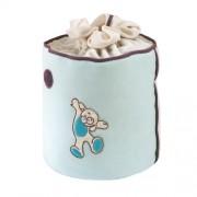 Câlin Câline Ethan 406.32 - Bolsa para guardar juguetes, diseño de osito con círculos bordados, color azul, violeta y blanco