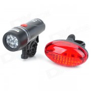 Bicycle Bike White 5-LED Head Light Torch Flashlight + Red 5-LED Tail Light Set with Mount