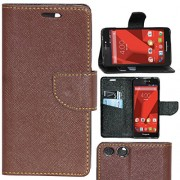 Zaoma Diary Type Flip Cover for PANASONIC P55 NOVO 4G - Brown