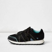 River Island Womens Black sports panel trainers