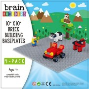 "[BEST Design] GRAY Brick Building Baseplates, tight fit with Lego, 10"" x 10"" 4 pack set"