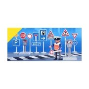 Road sign 3273 and Playmobil city life cop (japan import)