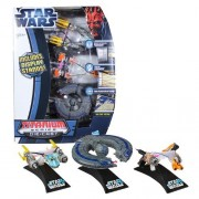 Hasbro Year 2012 Star Wars Exclusive Titanium Die Cast Series 3 Pack 3 Inch Long Vehicle Set - Anakin Skywalker Podracer Sebulba Podracer and Trade Federation Battleship Plus 3 Display Stands