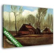 Vincent Van Gogh: Parasztházak a fák között (1883) (35x25 cm, Vászonkép )