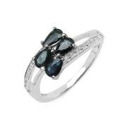 Inel argint cu safire albastre