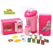 Little Treasures Mini Kitchen Appliance Cooking Toy Play Set - Includes a Pretend Play Mini Microwave Coffee Maker and Mini Toy Fridge with Toy Beverages and Food
