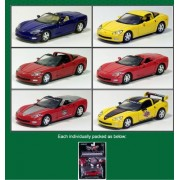 Set Of 6 Cars: Green Light 2005 Chevy Corvette C6 Collection 1:64 Scale Series 1
