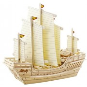 Coeus 3d Wooden Puzzle / Diy Model Sailing Military Ship Zheng He Educational Games For Kids / 3d Puzzles For Adults