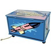 Opbergbank en kist blauw met design op wieltjes