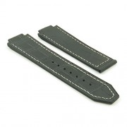 dassari S4 Schwarz W/White Stitch Croc Geprägtes Leder & Gummi Armbanduhr Band für Hublot Big Bang
