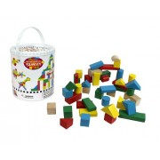 Wooden Blocks - 42 Pc Wood Building Block Set with Carrying Bag and Container (Rainbow Colored) - 100% Real Wood