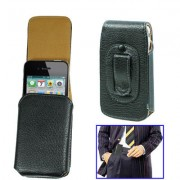 Leather Case for iPhone 4 & 4S / 3G / 3GS with Clip(Black)