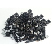 LEGO City Complete Wheel Assembly Lot, 20 Black Axles, 40 Black RUbber Tires, 40 Light Gray Wheels by LEGO