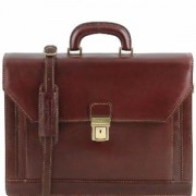 Cartable Cuir Marron Cadre ou Prof lib 3 compartiments -Tuscany Leather-