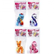 My Little Pony Classic Figure Set of 4 - Applejack Rarity Rainbow Dash & Pinkie Pie (1) MLP Blind Bag and (1) Reusable Handmade Bag Pouch