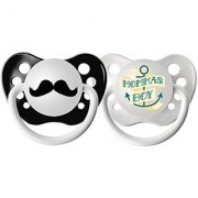 Ulubulu Expression Pacifier Set for Boys Momma's Boy and Mustache 6-18 Months