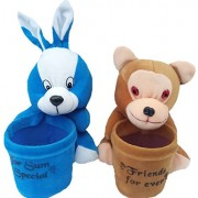 Aparshi Pack of 2 Pen Holders of monkey and rabbit soft toy -18 cm