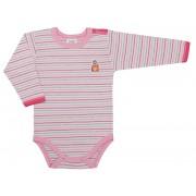 Body cu maneca lunga roz cu dungi /PO5