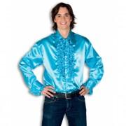 Luxe heren rouche overhemd turquoise