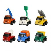 Construction Truck Toys Friction Powered Vehicles Set of 6 - Dump Truck, Cement Mixer, Excavator, Recycle & Latter Trucks with Moving Parts for Table Top, Floor or Sand Box Imagination Play Time