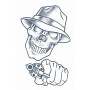 Tinsley Transfers Stick Up Skull Prison Temporary Fx Tattoo, Black/White