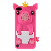 Roze varkentje iPod Touch 5/6 Silicone beschermhoesje met uitsteeksels 3D opdruk Piggy Queen