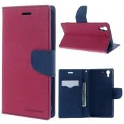 Korean Mercury Fancy Diary Wallet Case for HTC Desire Eye - Hot Pink