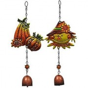 Fall Harvest Metal Bell Wind Chimes Perfect for Gardens Porches Patios Gazebos Harvest Thanksgiving Decoration (Set of 4)