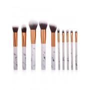 rosegal 10Pcs Marbling Handle Facial Makeup Brushes Kit