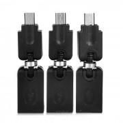 Portable 360 Degree Rotary USB 2.0 to Micro USB Adapters - Black (3 PCS)