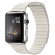 APPLE 42MM STAINLESS STEEL CASE WITH WHITE LEATHER LOOP - MEDIUM