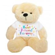 Peach 2 feet Big Teddy Bear wearing a Best Friend Forever T-shirt