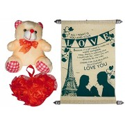 valentine's day gift - Scroll Greeting Card, Soft Teddy, Artificial Flower Heart